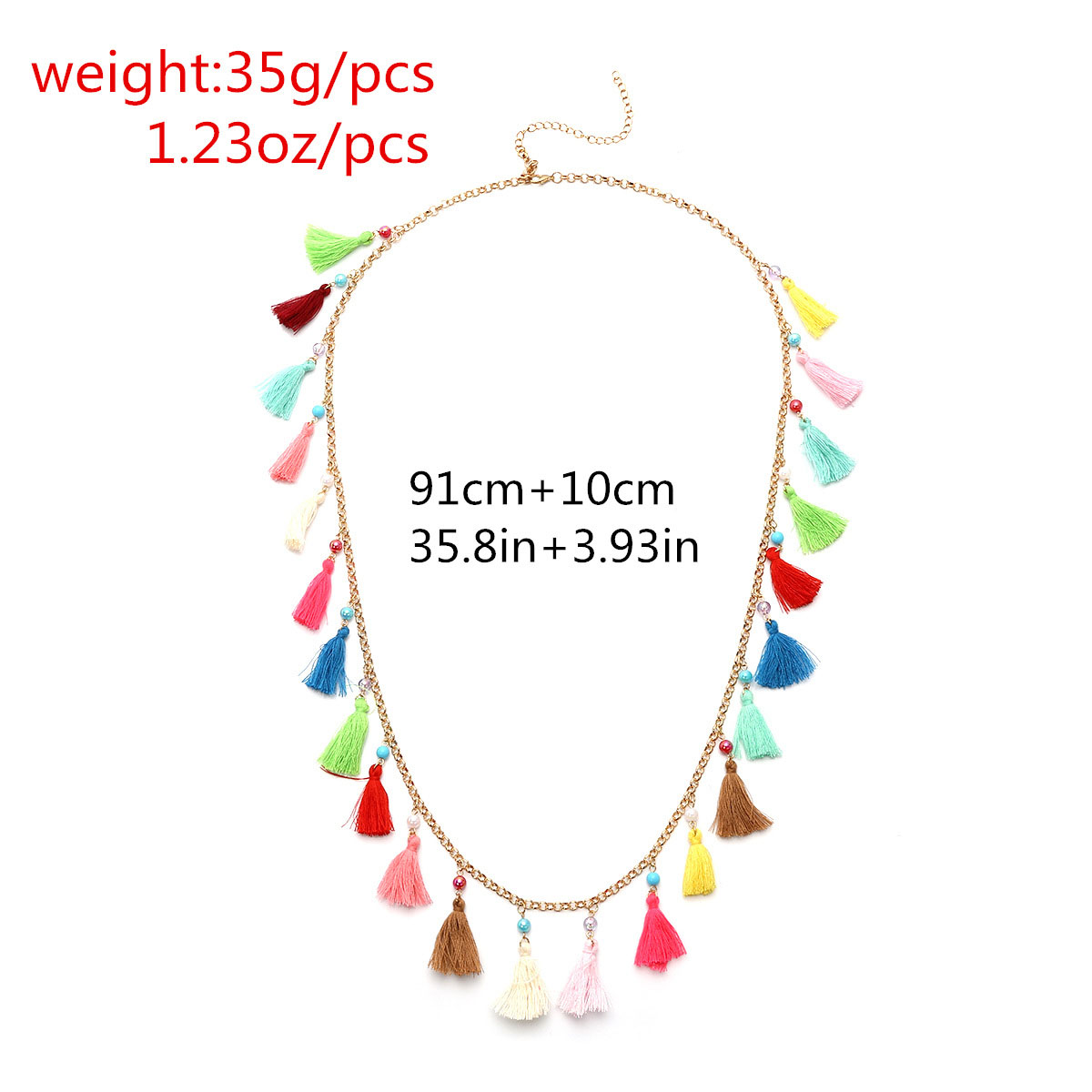 Long Colorful Tassels Necklace