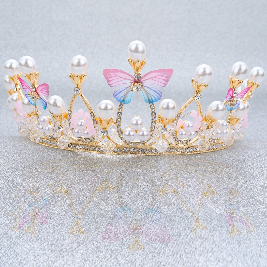 Wedding Crown and Tiara Gold Bridal Butterfly Queen Party Crystal Headband for Women and Girls