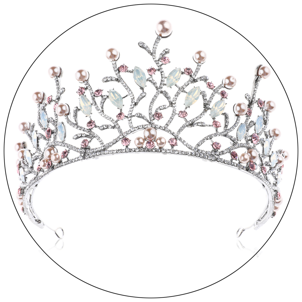 Wedding Crown and Tiara Brooze Opal Rhinestones Bridal Baroque Headband for Brides Women and Girls